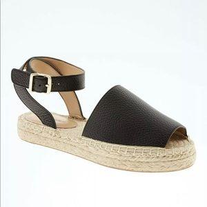 Banana Republic black leather peep toe sandal